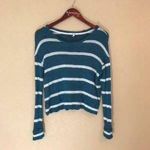 Splendid brand striped soft sweater teal and cream